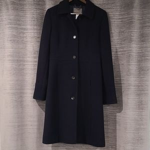 J. Crew Lady Day Coat in Wool, 8 Tall, Navy
